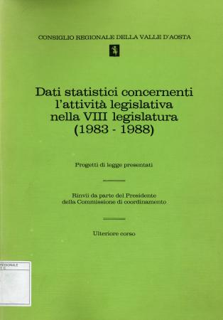 Dati statistici concernenti l'attività legislativa nella VIII legislatura (1983-1988)