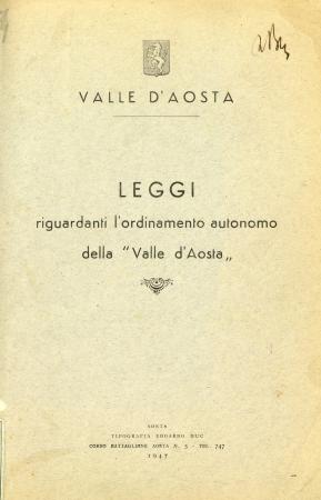 Leggi riguardanti l'ordinamento autonomo della Valle d'Aosta