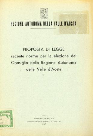 Proposta di legge recante norme per la elezione del Consiglio della Regione autonoma della Valle d'Aosta