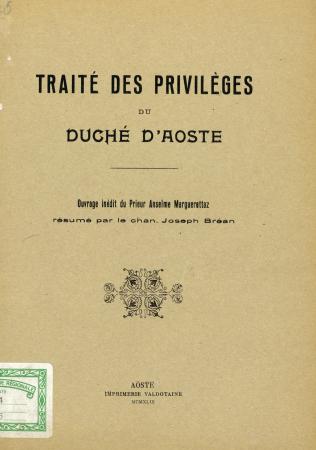 Traité des privilèges du Duché d'Aoste