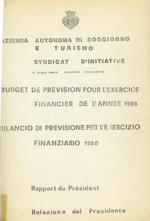 Budget de prevision pour l'exercice financier de l'année 1980