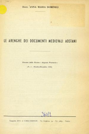 Le arenghe dei documenti medievali aostani