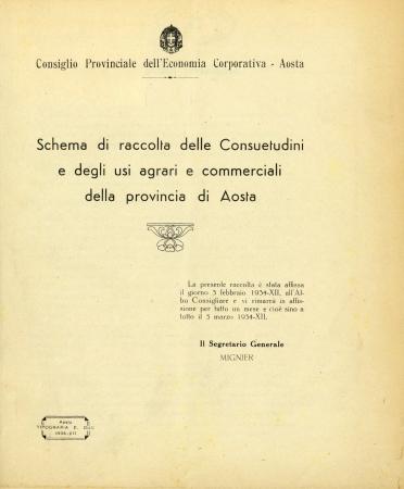 Schema di raccolta delle consuetudini e degli usi agrari e commerciali della provincia di Aosta