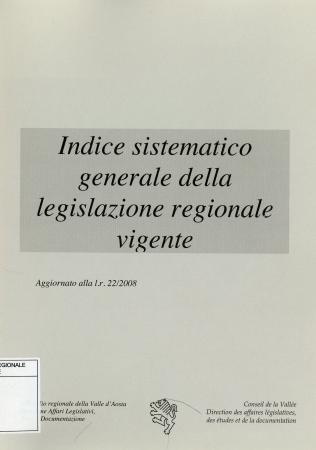 Indice sistematico generale della legislazione regionale vigente