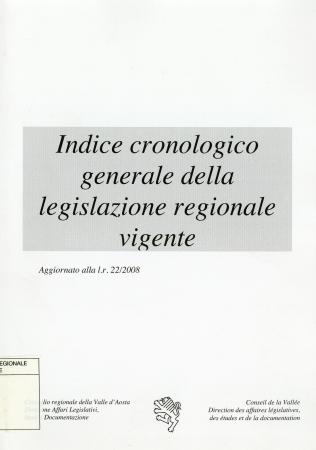 Indice cronologico generale della legislazione regionale vigente