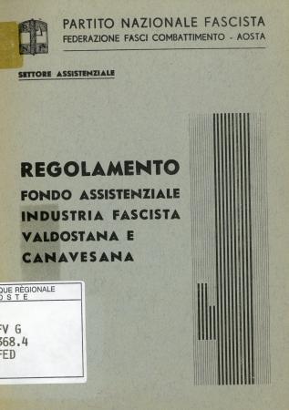 Regolamento fondo assistenziale industria fascista valdostana e canavesana